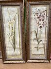 Orchid & Freesia Flowers Gold Framed Wall Décor Picture Set of 2
