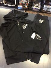 Sean John Black Women Track Suit Outfit Pants Hoodie Jacket Caviar Large