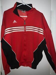 Men's Adidas Soccer Track Jacket Full Zip Red White Stripes Size M