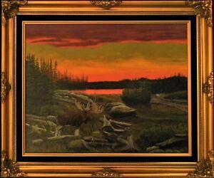 Ron Kucinski Unexpected Intruder Moose Original Wildlife Acrylic Painting16x20