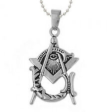 Freemason Pendant - Silver Tone  Masonic Eye of Providence Square & Compass