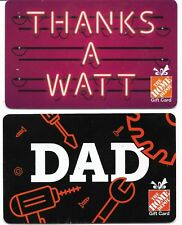 2 Collectible HOME DEPOT gift cards Canada USA #01 Dad Thanks a Watt