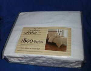 Deelina Dream Bedding 1800 Series Deep Pockets TWIN 4-Piece Sheet Set WHITE