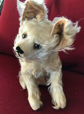 Early Vintage Rare White Curly Mohair, Stand Up Ears, Swivel Headed Dog