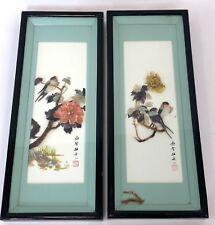 "Vintage Pair 21"" Framed Resin 3D Diorama China Japan Finch Songbird Wall Art"