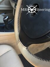 FOR MERCEDES 320 W124 84-92 BEIGE LEATHER STEERING WHEEL COVER BLACK DOUBLE STCH