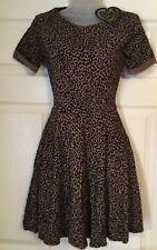Club L Leopard Animal Print Skater Dress Size 10 Flock Feel Short Sleeve Party