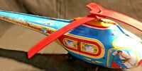 Vintage 1960s J. Chein Tin Toy Town Airways Helicopter Wind Up Toy PUSH ACTION