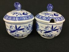 Hutschenreuther Selb Blue Onion Covered Sugar Bowl Jam Jelly Condiment Jar