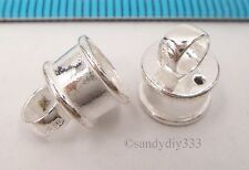2x BRIGHT STERLING SILVER PENDANT BAIL SLIDER w/ END CAP THREAD CONNECTOR #2360