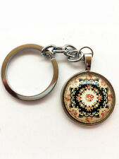 Mandala keychain Cabochon Tibetan silver glass metal key ring wholesale