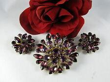 Vintage Royal Purple Rhinestone Pin Brooch Earrings Set Feral Cat Rescue