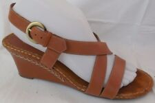 3c9da67f13ca Aerosoles Vine Dandy Slingback Wedge Sandal Brown Leather Strappy Wmn 8.5 M  Heel