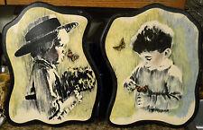 HTF VTG Wood Wall Plaque LOT AMISH Boy Butterfly Print Set 14x18 Plain Folk Art