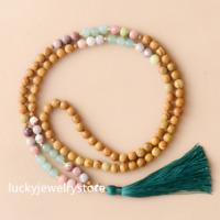 108 Beads 8mm Grain Stone Natural Stone Long Tassel Necklace Women 36.5'' Z0192