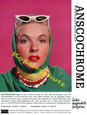 Orig. Publicité photographiques ANSCOCHROME Portrait blonde dame mode Darmstadt 1957
