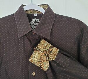Luchiano Visconti Brown Button Down Shirt Reverse Cuff Large