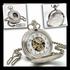 Personalised Half Hunter Chrome Plated Skeleton Pocket Watch Engraved Any Text