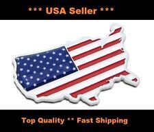 lot of (2) 3D metal Usa Flag Map Car Sticker emblem 3M adhesive Badge Decal