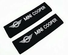 1 Pair Soft Car Seat Belt Cushion Cover Pads / Mini Cooper White Embroidered