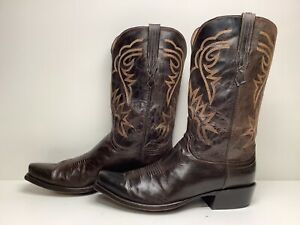 #W9 VTG MENS LUCCHESE HANDMADE SNIP TOE COWBOY BROWN BOOTS SIZE 13?