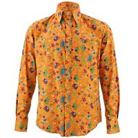 Men's Loud Shirt Retro Psychedelic Funky Party TAILORED FIT Elephants Orange