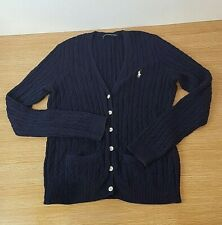 Ralph Lauren Sport Navy Blue Cardigan Cable Knit Size L