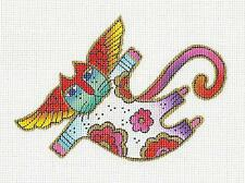 *NEW* Floral Angel Cat handpainted 18m Needlepoint Canvas by Laurel Burch