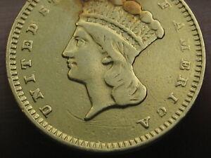 1858 S $1 Gold Indian Princess One Dollar Coin- Rare San Francisco Date