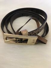 Vintage Escada Skinny Belt Medium 40 Brown Croc Crocodile Leather