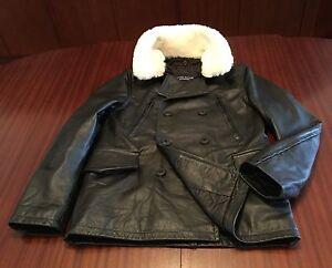 NWT Cowhide Designer Luxury Leather Jacket Fur Collar Peacoat Men's Black M