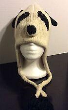 Panda Animal Hat ,100% wool hand knit Pilot Ski hat PANDA