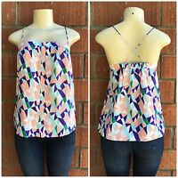 ANTHROPOLOGIE Greylin Silk Multi Colored Spaghetti Straps Top Retails $98.00