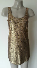 SUPRE GOLD METALLIC PATTERNED BLACK TUNIC / SHORT DRESS - SIZE 8 APPROX