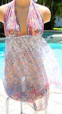 Victorias Secret short nightgown chemise plunge halter sheer retro floral L