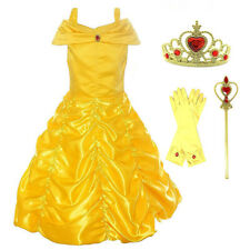 Girls Belle Fancy Dress Up Beauty And the Beast Kids Costume Accessories Gifts