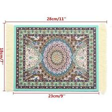 Blue Persian Style Mini Woven Rug Mouse Pad Carpet Mousemat With Fringe 11''x7''