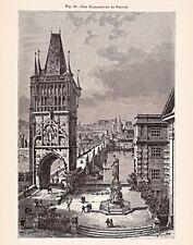 Tschechien, Prag - Karlsbrücke und Stadt - Grafik, Stich, Holzstich um 1895