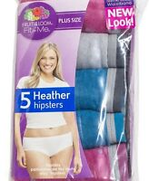 Fruit of The Loom Fit for Me Plus Size Cotton Heather Hipster Briefs 5 Pack