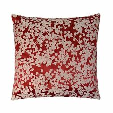"FILLED WOVEN FLORAL RED BEIGE 17"" - 43CM CUSHION"