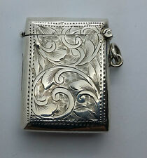 Antique Sterling Silver Vesta Birmingham UK 1909 match case Hand Engraved