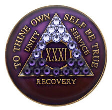 1 Year Purple Transition Crystallized Sobriety Recovery Medallion