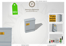 2 x Verteiler Strom Kasten ohne Graffiti mit Schild H0 DioramaOberrhein 6017