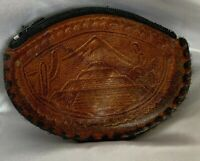Vintage Leather Tooled Coin Purse Zippered 50-60s