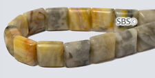 Crazy Lace Agate 10x10mm 2-Hole Square Stone Beads (approx. 16 inch strand)