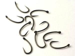 10 TEFLON Carp Fishing Hooks, Size 6, BARBLESS