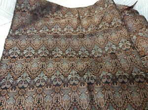 "Copper Gray Black Silk Brocade Jacquard Damask Doll Fabric 2 Yards 44"" Wide New"