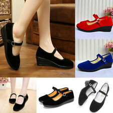 Womens Ladies Black Mid Block Heel Mary Jane Office Work Formal Strap Shoes Size