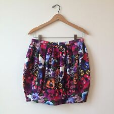 "TOPSHOP Rare ""Day of the Dead"" Floral Print Bubble Mini Skirt Sz 8 PERFECT"