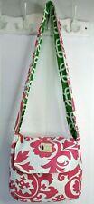 Flipped Bird Reversible Canvas Flap Crossbody Messenger Bag Green/Pink Floral